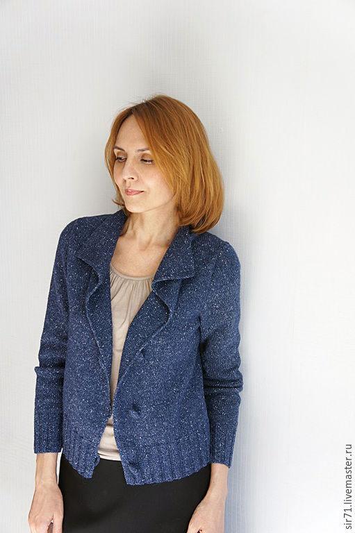 Кофты и свитера ручной работы. Ярмарка Мастеров - ручная работа. Купить Жакет твидовый. Handmade. Тёмно-синий, молодежный стиль