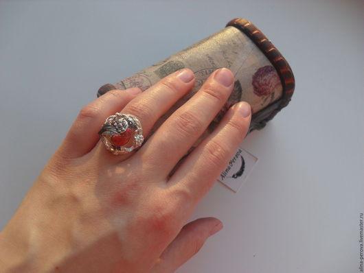 """Кольца ручной работы. Ярмарка Мастеров - ручная работа. Купить Кольцо серебрянное """"Снегирь сказочный"""". Handmade. Ярко-красный, красный"""