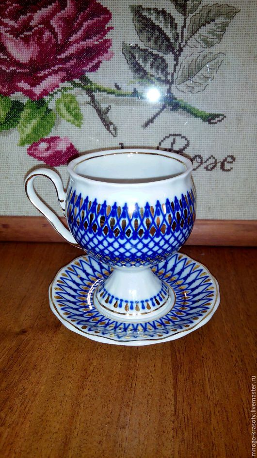 Винтажная посуда. Ярмарка Мастеров - ручная работа. Купить Чайная пара Гарднер. Handmade. Чайная пара, гарднер, синий