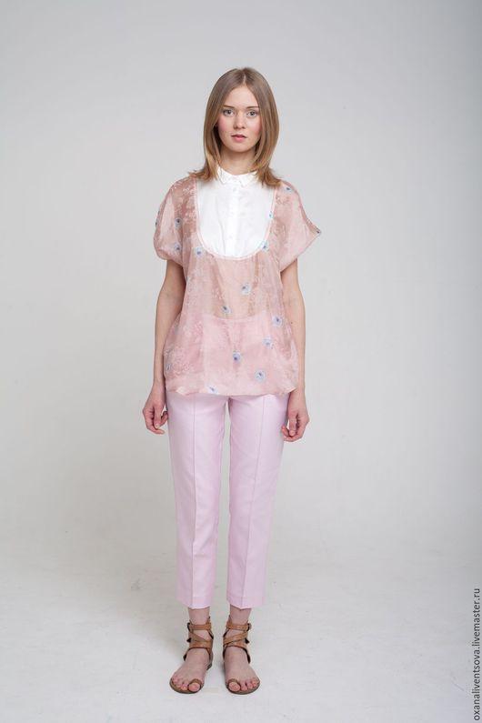 Блузки ручной работы. Ярмарка Мастеров - ручная работа. Купить Блузка розовая из шелка короткий рукав. Handmade. Бледно-розовый