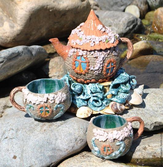 """Сервизы, чайные пары ручной работы. Ярмарка Мастеров - ручная работа. Купить Сервиз """"Локмарьякер"""". Handmade. Комбинированный, весна на побережье"""