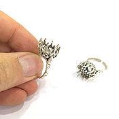 Материалы для творчества ручной работы. Ярмарка Мастеров - ручная работа кольцо разъемное посеребрение с вставкой 12 мм. Handmade.
