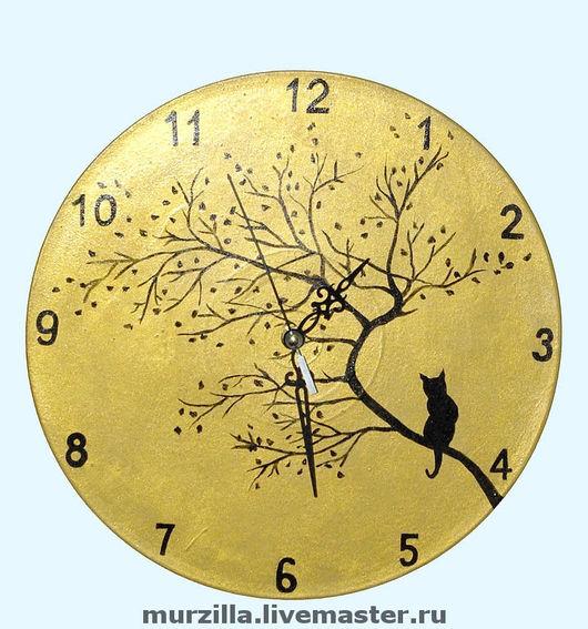 """Часы для дома ручной работы. Ярмарка Мастеров - ручная работа. Купить Часы """"Кошка"""". Handmade. Часы настенные, часы интерьерные"""