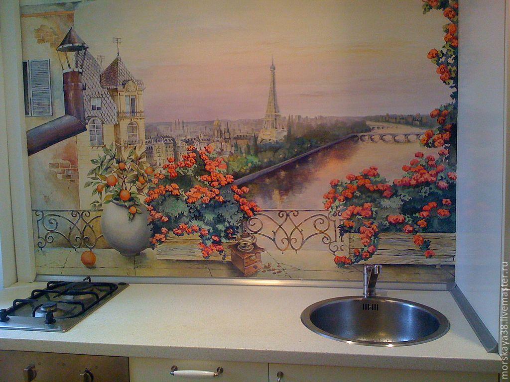 Роспись стен в кухне своими руками 59