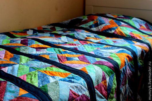 """Текстиль, ковры ручной работы. Ярмарка Мастеров - ручная работа. Купить Лоскутное одеяло """"Янтарный бриз"""". Handmade. Комбинированный"""