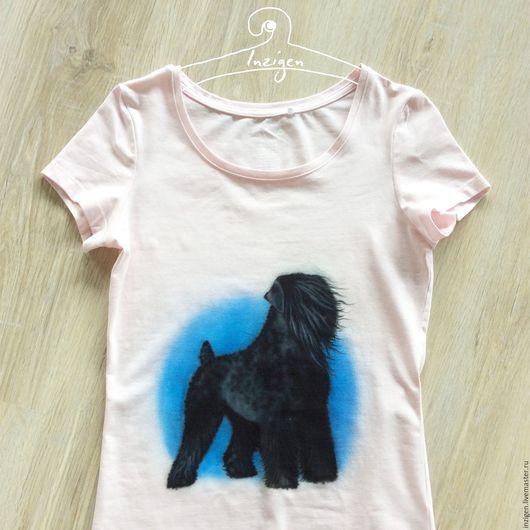 Аэрография на футболке `Русский черный терьер`