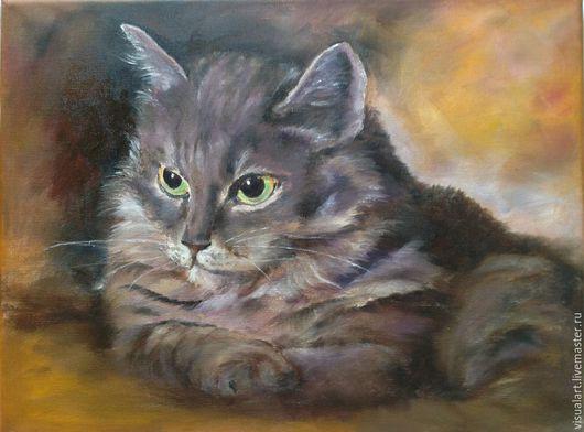 Животные ручной работы. Ярмарка Мастеров - ручная работа. Купить Картина маслом Кошка. Handmade. Темно-серый, картина для интерьера