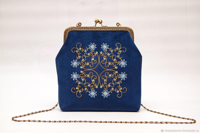 41440cb2b83d Женские сумки ручной работы. Ярмарка Мастеров - ручная работа. Купить  Сумочка синяя с фермуаром ...
