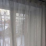 """Для дома и интерьера handmade. Livemaster - original item Тюль льняной """" Воздушный с мережкой """" шир 250 см. Handmade."""