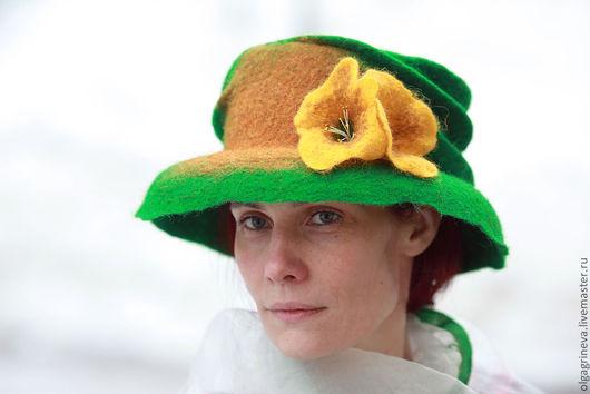"""Шляпы ручной работы. Ярмарка Мастеров - ручная работа. Купить Дамская шляпка """"Елизавета"""". Handmade. Ярко-зелёный, войлочная шляпа"""