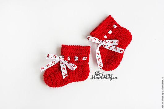 Для новорожденных, ручной работы. Ярмарка Мастеров - ручная работа. Купить носочки - пинетки для новорожденного. Handmade. Ярко-красный