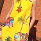 """Платья ручной работы. Платье трапеция желтое """"Автобусы"""". Biserova. Ярмарка Мастеров. Платье летнее, платье в стиле 60-х"""