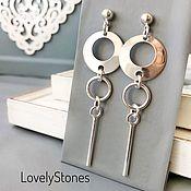 Украшения handmade. Livemaster - original item Stud earrings long geometric silver gift girl. Handmade.