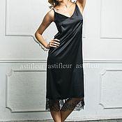 Одежда ручной работы. Ярмарка Мастеров - ручная работа Платье-комбинация в бельевом стиле черное. Handmade.