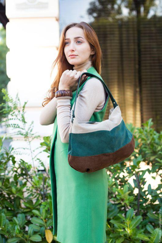 Сумка замшевая женская, Лист, коричневый, зеленый, бежевый, из натуральной итальянской  замши, сумка кожаная женская, сумка женская на весну, весенняя мода 2016, сумка из замши, многоцветная. Twinskin