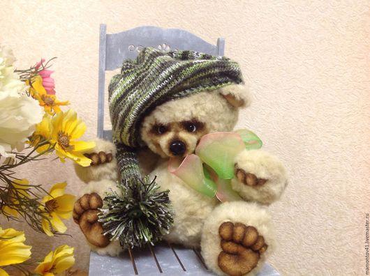 Мишки Тедди ручной работы. Ярмарка Мастеров - ручная работа. Купить Оливер. Handmade. Оливковый, мех искусственный, Носик