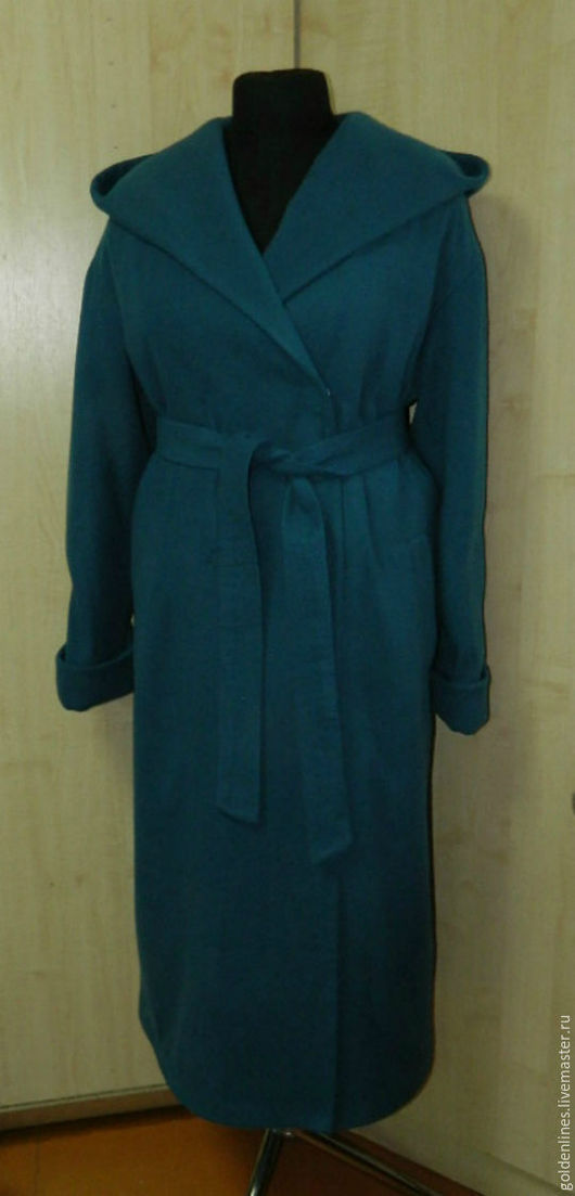 Верхняя одежда ручной работы. Ярмарка Мастеров - ручная работа. Купить пальто -оверсайз-плед. Handmade. Морская волна