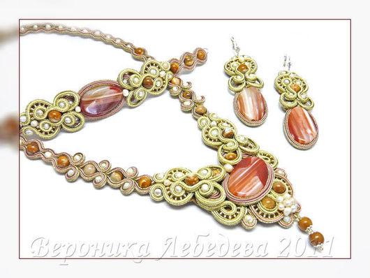 Jewelry Sets handmade. Livemaster - handmade. Buy Soutache-bead set Heartbreak Boulevard.Soutache embroidery technique, soutache