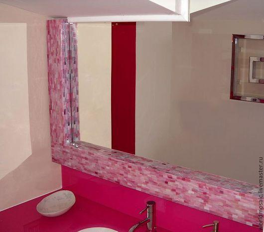 Зеркала ручной работы. Ярмарка Мастеров - ручная работа. Купить Зеркало в мозаичной раме, розовый жемчуг. Handmade. Розовый