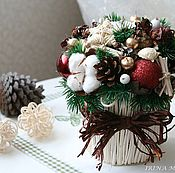Подарки к праздникам ручной работы. Ярмарка Мастеров - ручная работа Новогодняя композиция из природных материалов #3. Handmade.