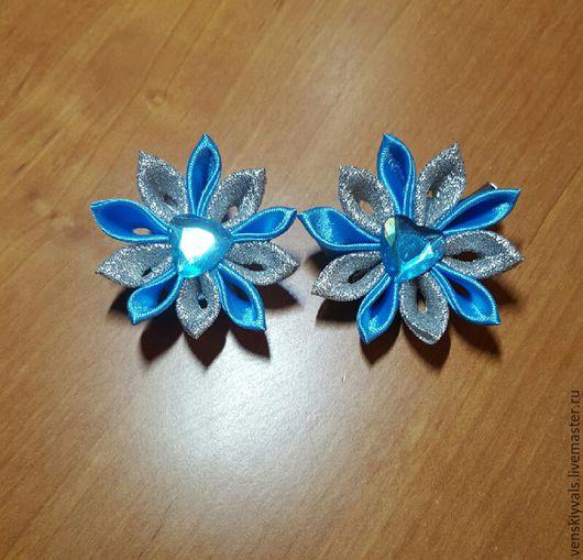 """Детская бижутерия ручной работы. Ярмарка Мастеров - ручная работа. Купить Пара заколочек для волос """"Зимний иней"""" голубые. Handmade."""