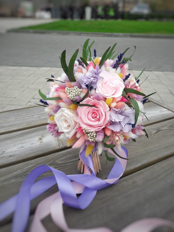 Свадебный букет в нежно сиреневых оттенках из стабилизированных цветов, Свадебные букеты, Москва,  Фото №1