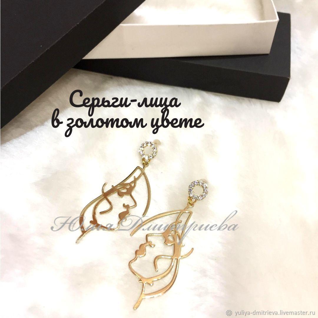 """Серьги-пусеты """"Лица в золотом"""", Серьги, Шушенское,  Фото №1"""