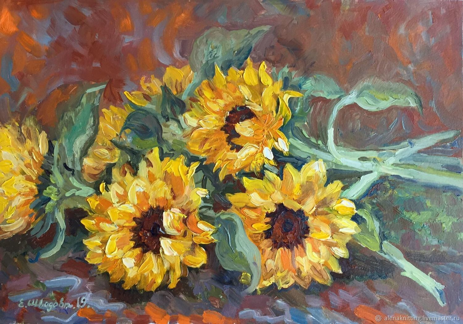 Oil painting 'Sunflowers', Pictures, Moscow,  Фото №1