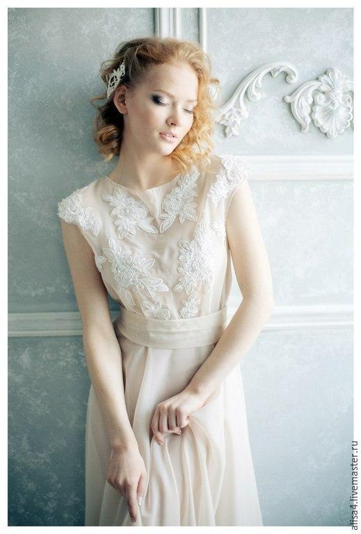 Платья ручной работы. Ярмарка Мастеров - ручная работа. Купить платье полупрозрачное с кружевом. Handmade. Бежевый, нежность романтика стиль