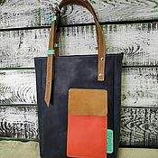 Сумки и аксессуары handmade. Livemaster - original item Leather bag with a bright pocket. Handmade.