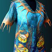 """Одежда ручной работы. Ярмарка Мастеров - ручная работа жакет валяный из войлока и шелка """"Гавайские  рыбки"""". Handmade."""