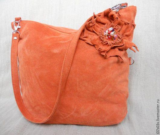 Женские сумки ручной работы. Ярмарка Мастеров - ручная работа. Купить Клатч кожаный большой с цветком арт -1-34а. Handmade.