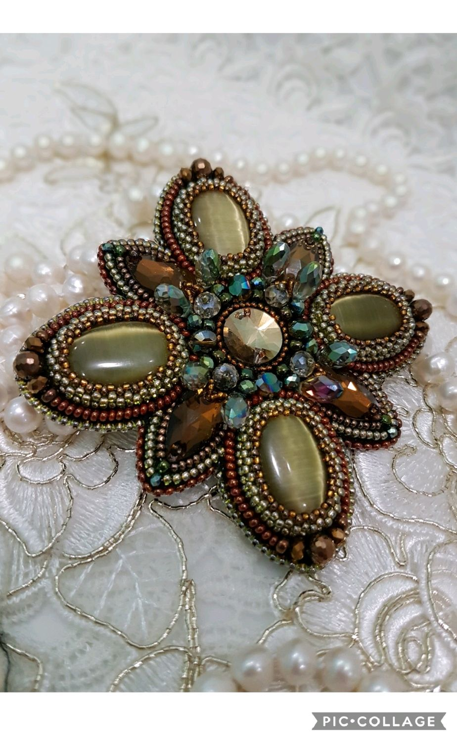 Brooch embroidered with beads ' the Breath of autumn', Brooches, Moscow,  Фото №1
