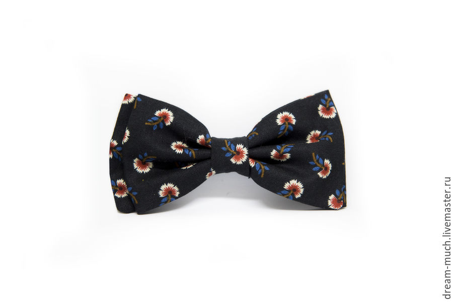 Bow tie black with flowers, Ties, Moscow,  Фото №1