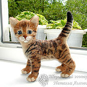 Куклы и игрушки handmade. Livemaster - original item Boniface kitten, Bengal cat, cat - toy, felted out of wool. Handmade.