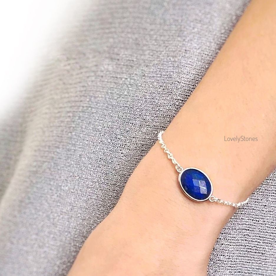 Oval bracelet with blue lapis lazuli on a chain, Chain bracelet, Yaroslavl,  Фото №1