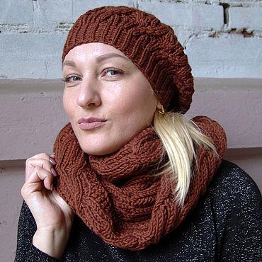 """Аксессуары ручной работы. Ярмарка Мастеров - ручная работа Комплект шапка-берет и шарф-снуд """"Каштанка"""" коричневый. Handmade."""