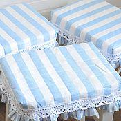 Для дома и интерьера ручной работы. Ярмарка Мастеров - ручная работа Чехол подушка сидушка на стул,табурет,голубой,морской,в полоску. Handmade.