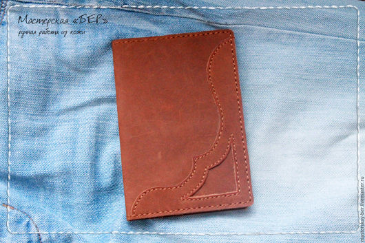 Обложка для паспорта из натуральной кожи, Аппликация из кожи. Мастерская «БЕР»