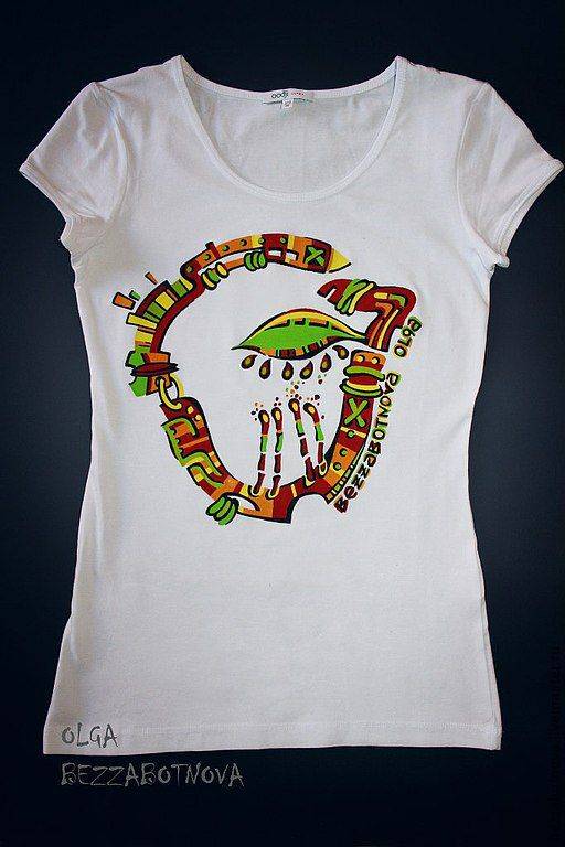 Авторская футболка с изображением майянского знака   Красный Дракон. Мы день - в который мы родились. Ручная роспись.
