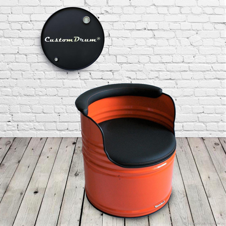 Кресло из металлической бочки в стиле лофт Оранжевое настроение, Кресла, Ростов-на-Дону,  Фото №1