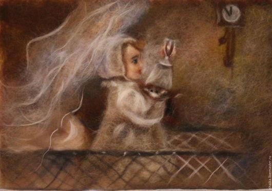 Люди, ручной работы. Ярмарка Мастеров - ручная работа. Купить С Новым Годом!. Handmade. Коричневый, новогодний, картина, Живопись