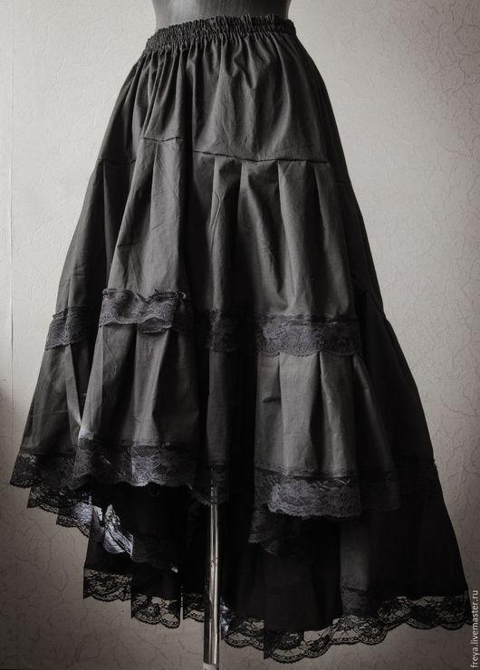 Юбки ручной работы. Ярмарка Мастеров - ручная работа. Купить Черная хлопковая юбка. Handmade. Юбка, бохо, хлопковая юбка