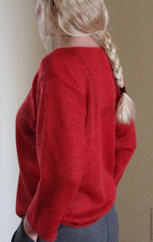 Кофты и свитера ручной работы. Ярмарка Мастеров - ручная работа. Купить Джемпер из кидмохера КРАСНЫЙ. Handmade. Ярко-красный