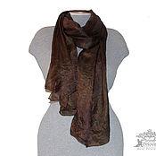Аксессуары ручной работы. Ярмарка Мастеров - ручная работа Шелковый палантин Горький шоколад  шелковый шарф, коричневый. Handmade.