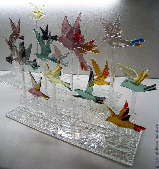 """Фьюзинг. Интерьерное украшение """" Птицы"""". Прекрасно будут смотреться на каминной полке или в нише. Уникальное дополнение к вашему интерьеру!"""