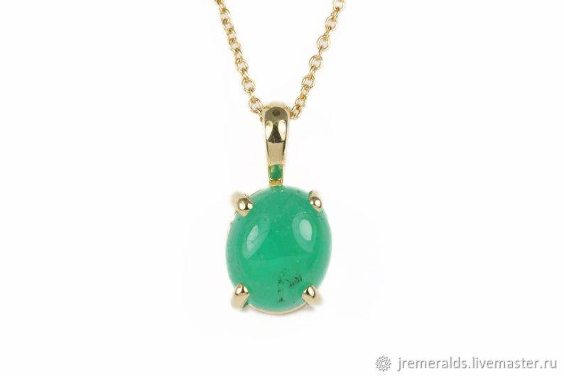 Emerald Necklace, Colombian Emerald Cabochon Pendant, Pendant, West Palm Beach,  Фото №1