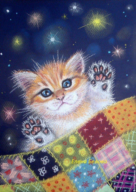 """Картина в детскую """"Мяу-мяу, баю-бай"""" рыжий котенок в ..."""