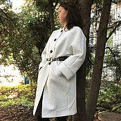 Пальто 2177 Белое стёжка