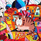 """Картины и панно ручной работы. Ярмарка Мастеров - ручная работа """"Коты на Питерских крышах"""" Витражная роспись стекла. Handmade."""